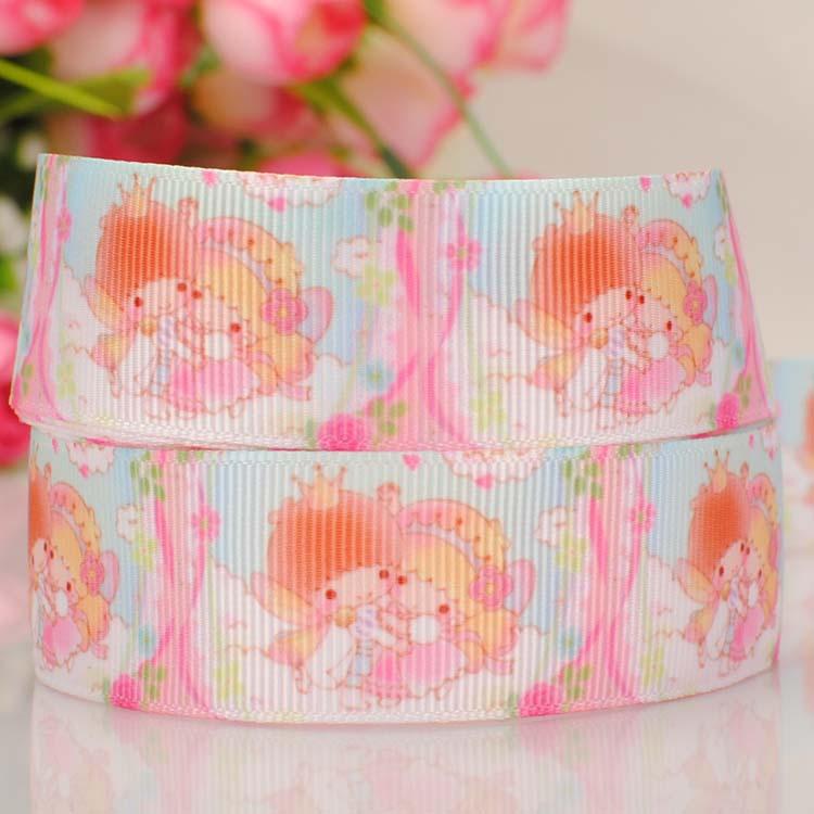 "ruban 1"" Little Twin Stars tape cartoon Printed Grosgrain satin softball Ribbon DIY wedding handmade fabric hair accessories(China (Mainland))"
