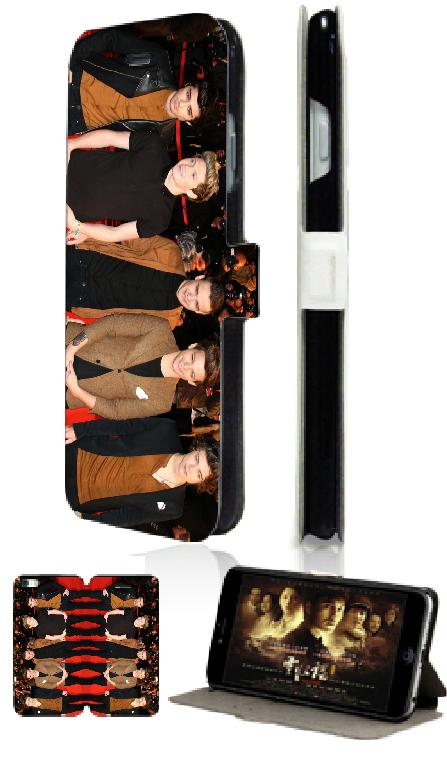 One direction fashion style hot selling luxury new 2 slot card wallet leather moible phone bag for ipod touch 4 4th free ship(China (Mainland))