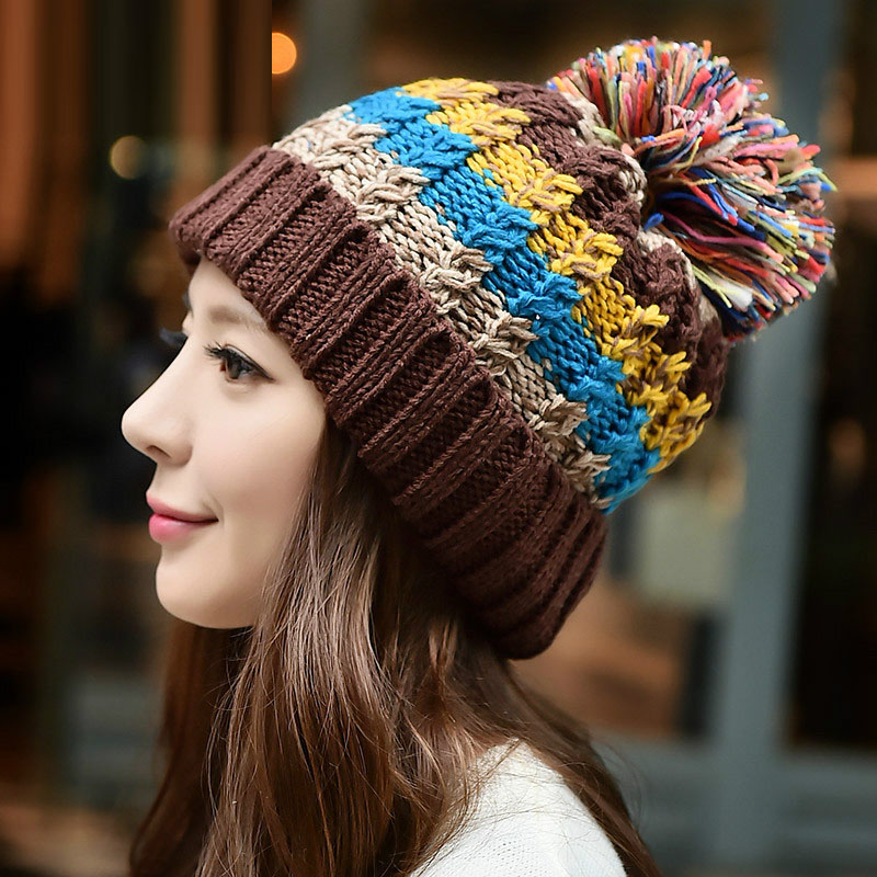 Autumn Winter Fashion Womens Warm Thick Colorful Knitted Hats , Ladies Casual Beanies , Fleece Red Black Cotton Hats For Woman(China (Mainland))