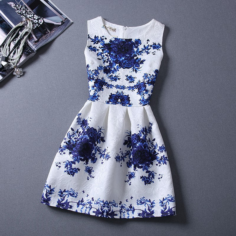 Vestidos 2015 Summer Style Vintage Print Pleated Ball Gown Party Slim Mini A-line Casual Clothing Party Elegant Women Dresses(China (Mainland))