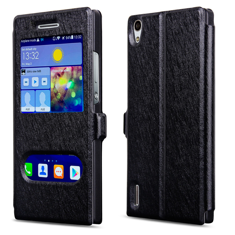 New Luxury huawei P8 Lite Case Leather View Window PU Flip Phone Case For Huawei P8 Lite Cover Free Shipping(China (Mainland))