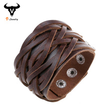 Buy Wide Genuine Leather Cuff Wrap Bangles Punk Rock Vintage Mens Bracelets Double Studded Leather Braided Bracelet Surfer Jewelry for $2.71 in AliExpress store