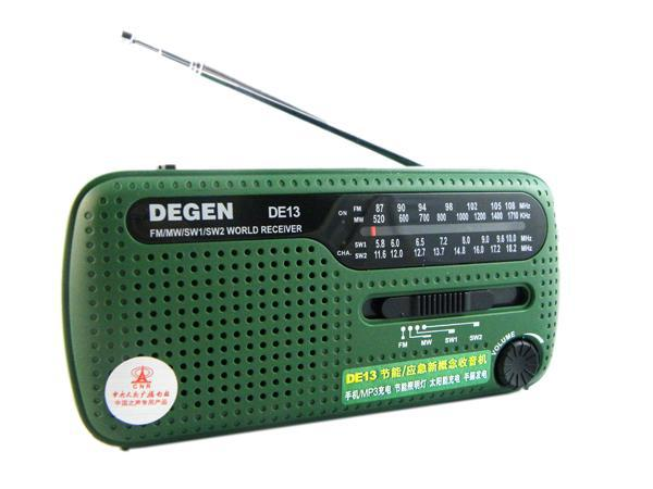 DEGEN DE13 FM AM SW Crank Dynamo Solar Power Emergency Radio A0798A World Receiver(China (Mainland))