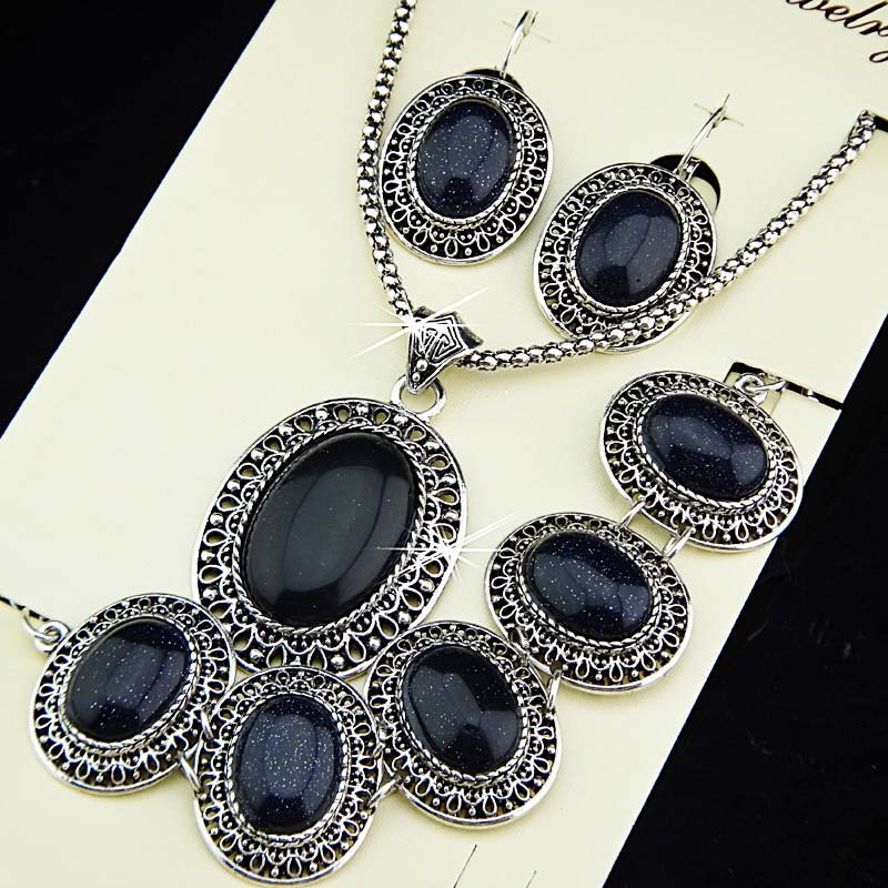 Guaranteed 100% Natural Antique Silver P Oval Blue Sandstones Earrings Bracelet Necklace Women Vintage Jewelry Set A699 - Edna store