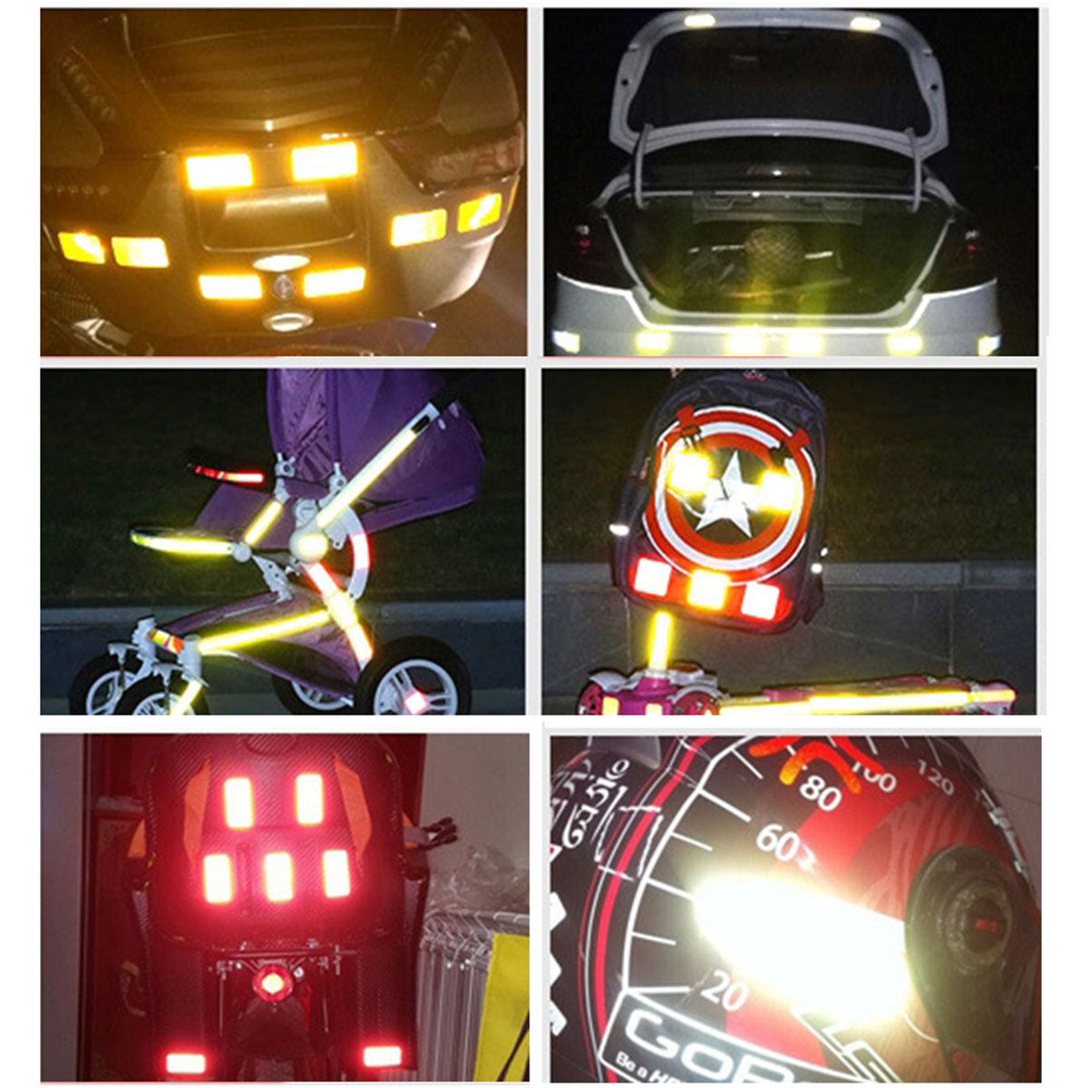 Strips Wheel Stickers Decals For Reflective Rim Tape Bike Motorcycle Car Fad D/_X