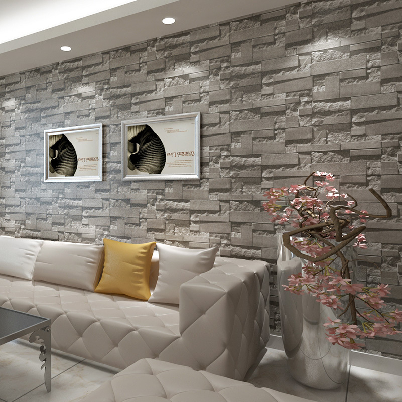 wallpaper black picture more detailed picture about stacked brick 3d stone wallpaper modern. Black Bedroom Furniture Sets. Home Design Ideas