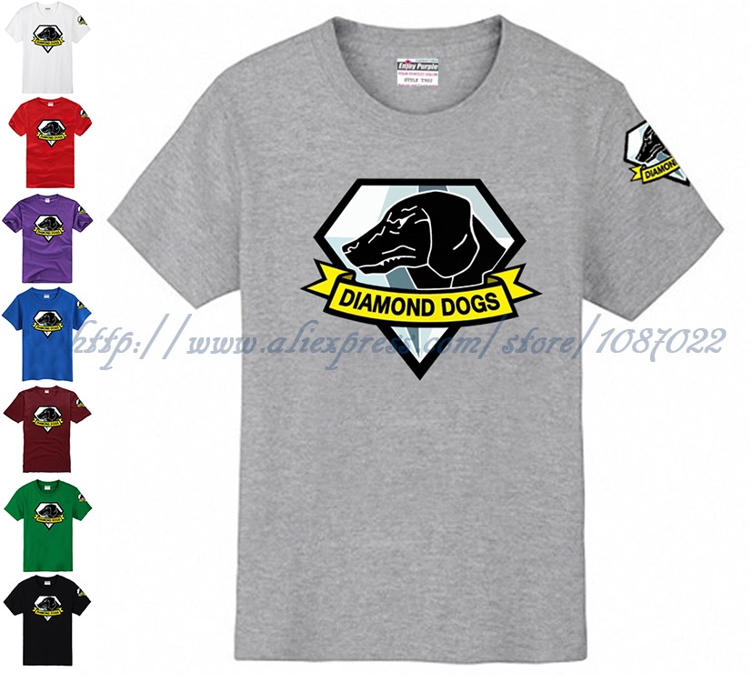 Emoji Emblem Icon MGS5 Metal Gear DiamondDogs Dogs Logo couple clothes man sports T-shirt(China (Mainland))