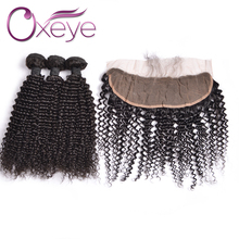 13×4 Ear To Ear Lace frontal Closure With Bundles 4 Bundle Deals Peruvian Virgin Hair With Lace Closure Kinky Curly Virgin Hair