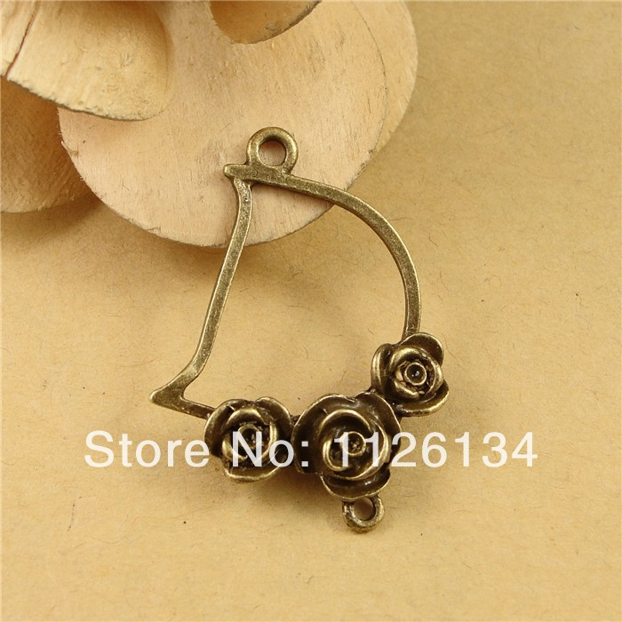 A1628 Wholesale Jewelry Findings Antique Bronze D Design Charms Alloy Vintage Rose Connector(China (Mainland))