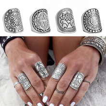 Set/4 Bohemia Midi Rings for Women Fashion Antique Tibetan Silver Plated Carved Knuckle Finger Bague Femme Boho Jewelry 2015(China (Mainland))