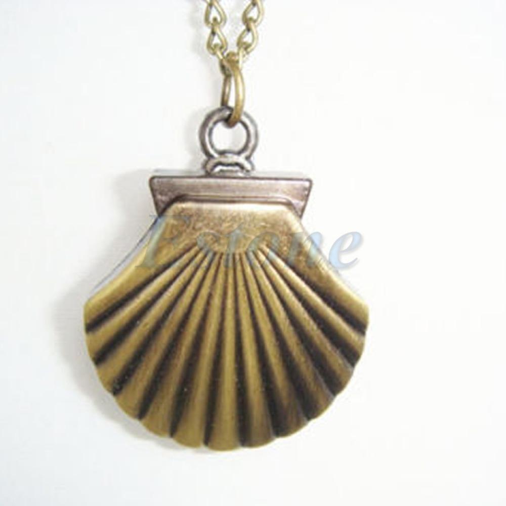 Retro Bronze Shell Punk Pocket Alloy Quartz Watch Pendant Necklace 2015 - on sale store