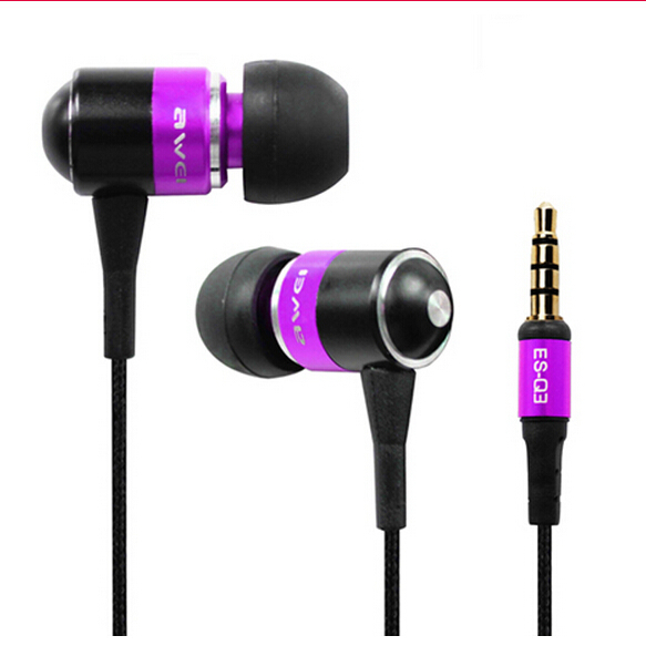 AWEI ES Q3 High quality 3 5mm Jack Noise Isolation Headphone In ear Style Earphone for