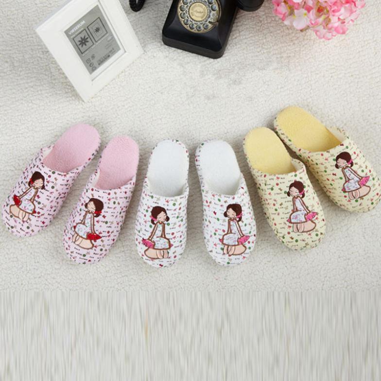 2014 house slipper for men and women soft slience home floor cotton slipper cartoon girl printed(China (Mainland))