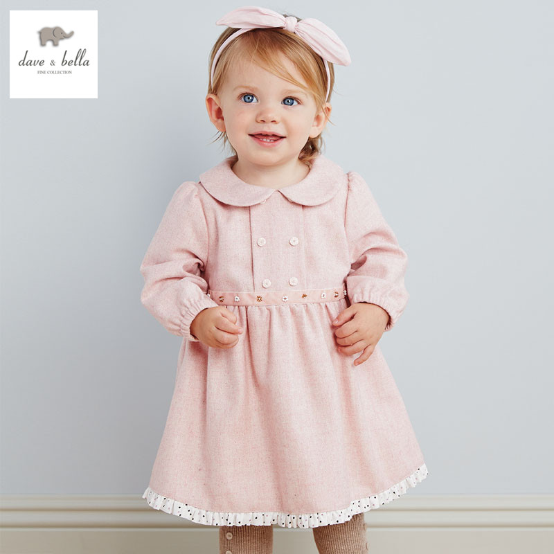 DB2788 dave bella 2015 autumn girls fairy dress toddler padded dress baby clothes infant dress baby wadded dress girl pink dress