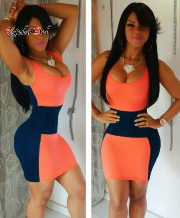 Summer Style 2015 Women's Summer Bandage Dress Splicing Sleeveless Bodycon Night Club Party Bodycon Dresses Vestidos 12(China (Mainland))