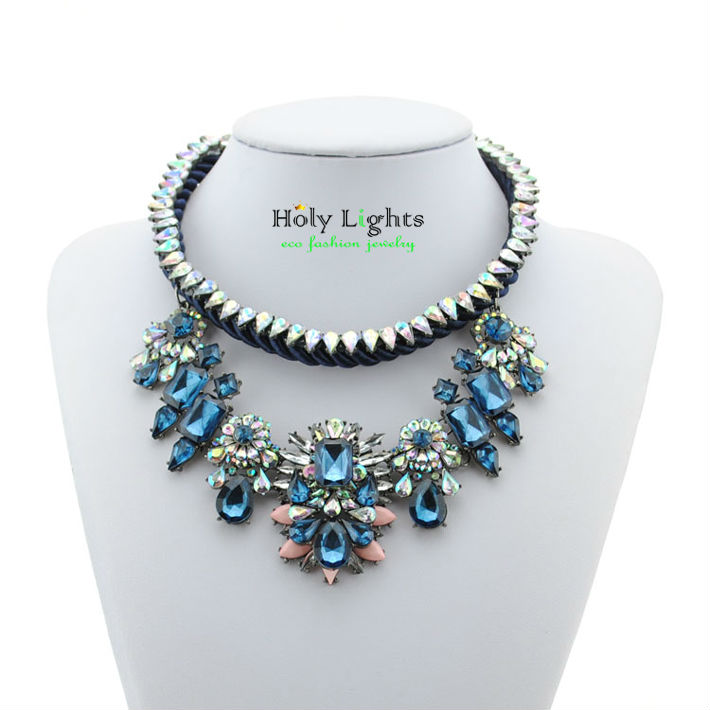 Lady candy za necklace 2016 flower statement chokers big marine shou collar pendant necklace lemon pink rope chain maxi necklace(China (Mainland))
