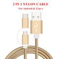 SIANCS Mini 25cm 1m Short Micro USB Type C 2 in 1 Nylon Cable 2A fast