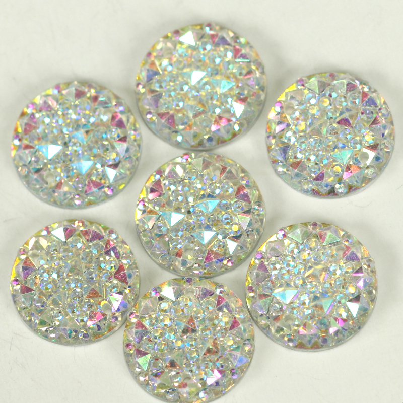 100pcs Clear AB Acrylic Resin FlatBack Round Sew On Rhinestone 2 holes Sew-on Reinestones Sewing Beads for Wedding Dress B2232(China (Mainland))