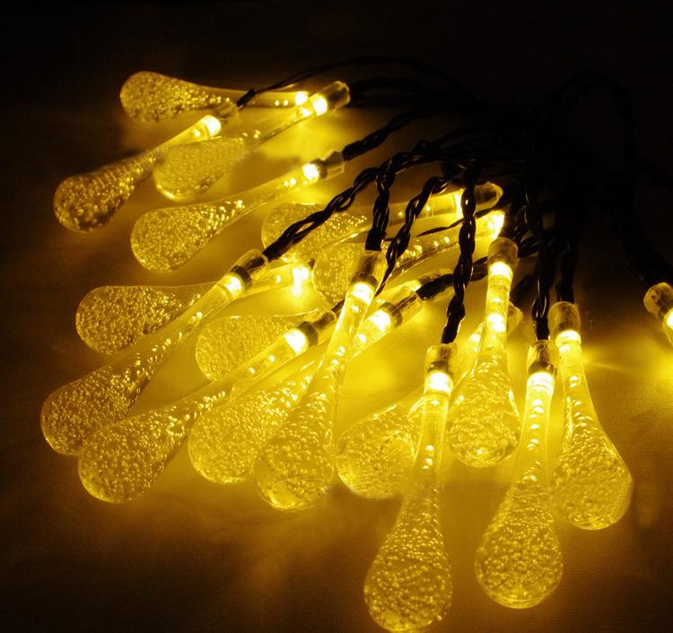 Warmwhite Garland Fairy Lights LED String Drop Bubble Bar Waterproof Christmas Solar LED Light Pick Luces Navidad Garden Outdoor(China (Mainland))