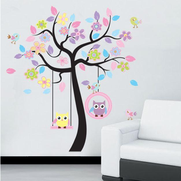 Extra Large DIY Colorful Owl Tree PVC Vinyl Removable Decals Home Decoration for Nursery Child Kids Bedroom Wall Stickers Mural(China (Mainland))