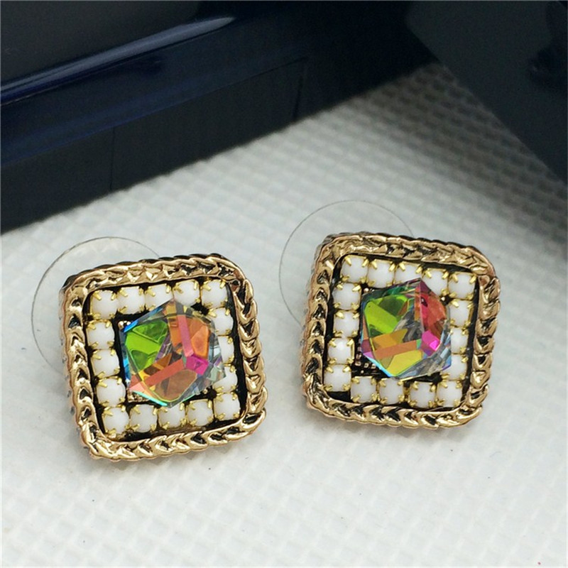 Women's Vintage Square Zinc Beads Sticker Stud Earrings Free Drop Ship Jewelry Supplier CE049(China (Mainland))