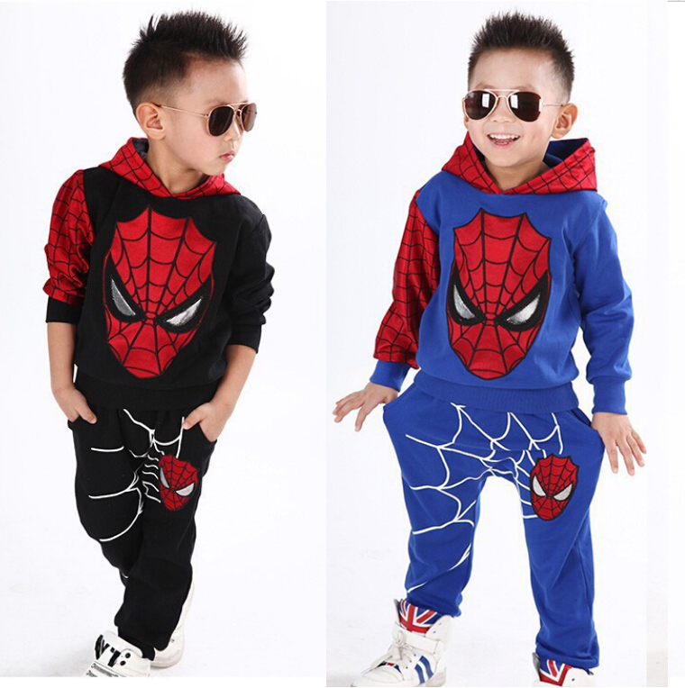 NTYSX kids Children clothing sets autumn spider man baby boy suit sport tracksuits child set hooded jackets+trousers F1786(China (Mainland))