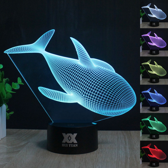 Shark led Table lamp 3D Touch Control 7 Colors  Night Light