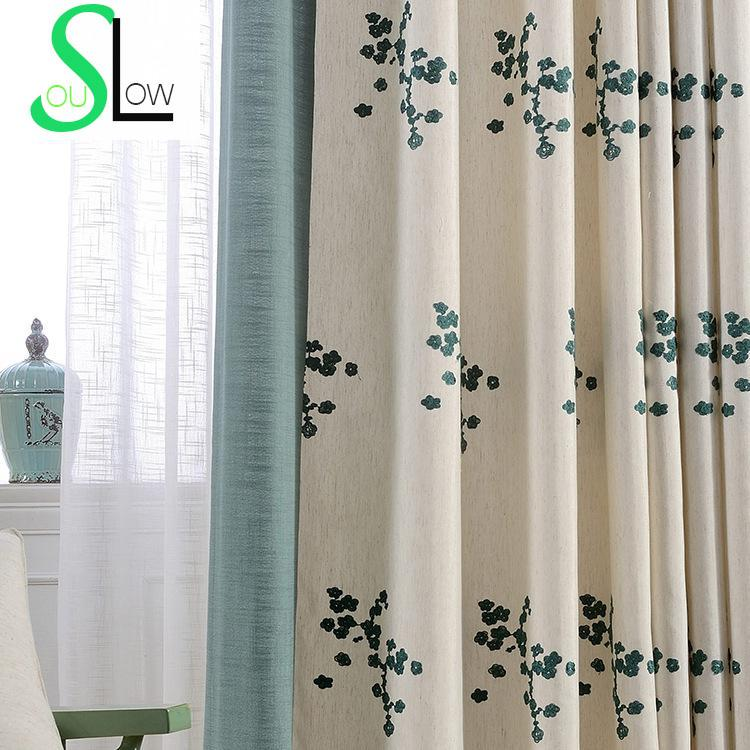 Floral embroidered curtains for living room korean style for Style de rideaux pour salon