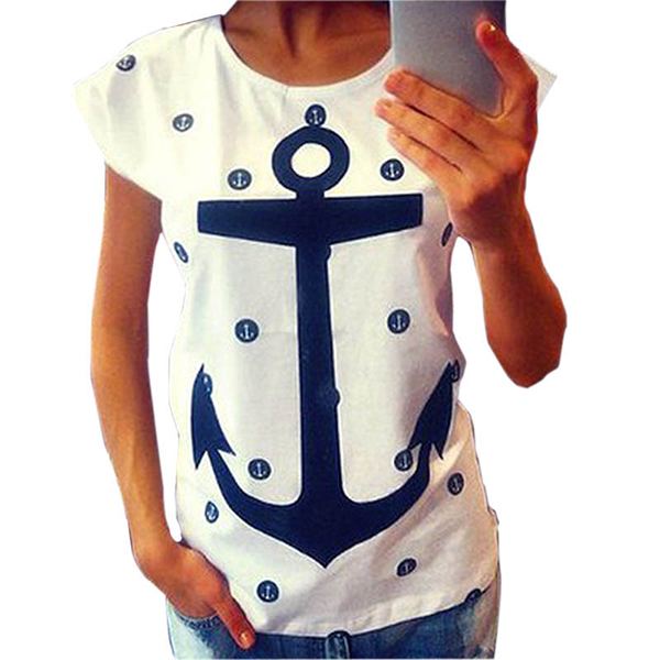 Women's Letter Print Anchor Slim Cotton Casual Blouse Shirts Tops Female T Shirts Loose Large Size Short Sleeve T-shirt Women(China (Mainland))