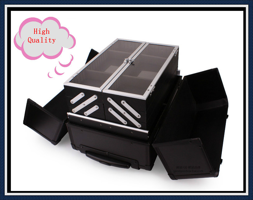 EMS Free Shipping Professional Trolley Cosmetic Box Makeup Case with wheels BLACK(China (Mainland))