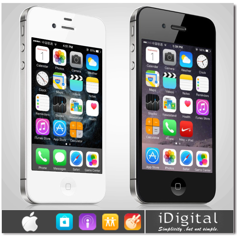 "100% Original Apple iPhone 4S Unlocked Phone 16GB/32GB/64GB 3.5""IPS IOS 8 Dual Core 8MP NFC WIFI GPS 3G WCDMA Smart Mobile Phone(China (Mainland))"