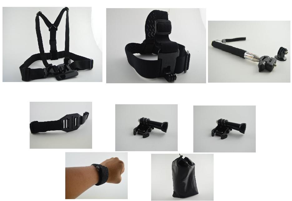 Gopro Accessories Black Chest Belt+WiFi Remote Wrist Belt+Head Strap+Helmet Strap+Bag+Handheld Monopod Mount HD Hero 3 - Camera accessories shop store