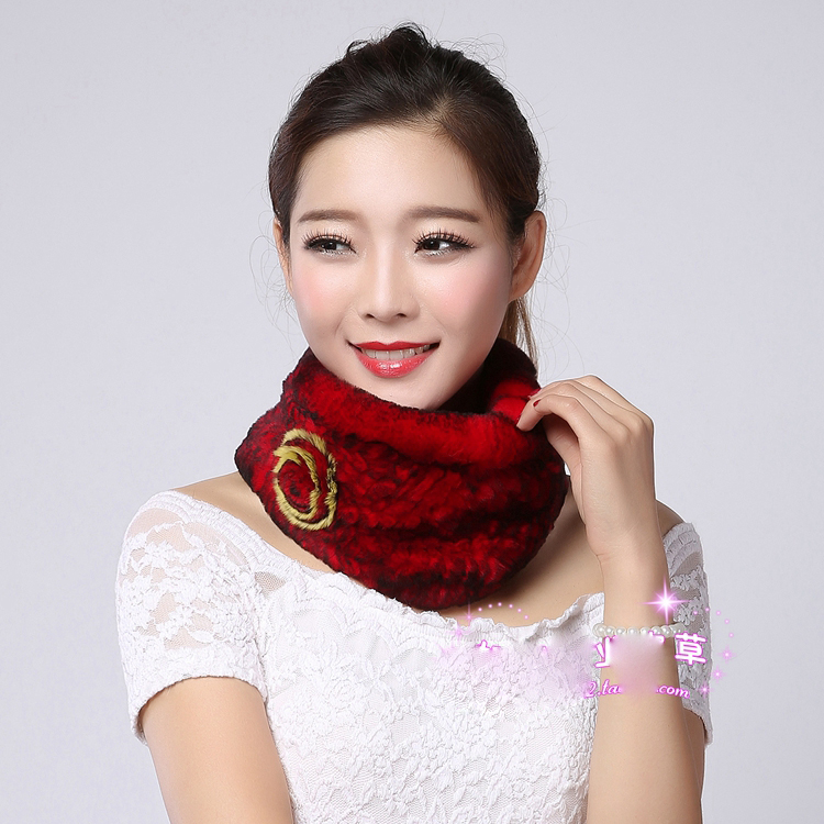 2015 New Women Knitted Rex Rabbit fur scarf Natural fur Neckwarmer Real Fur Knitted Scarve(China (Mainland))