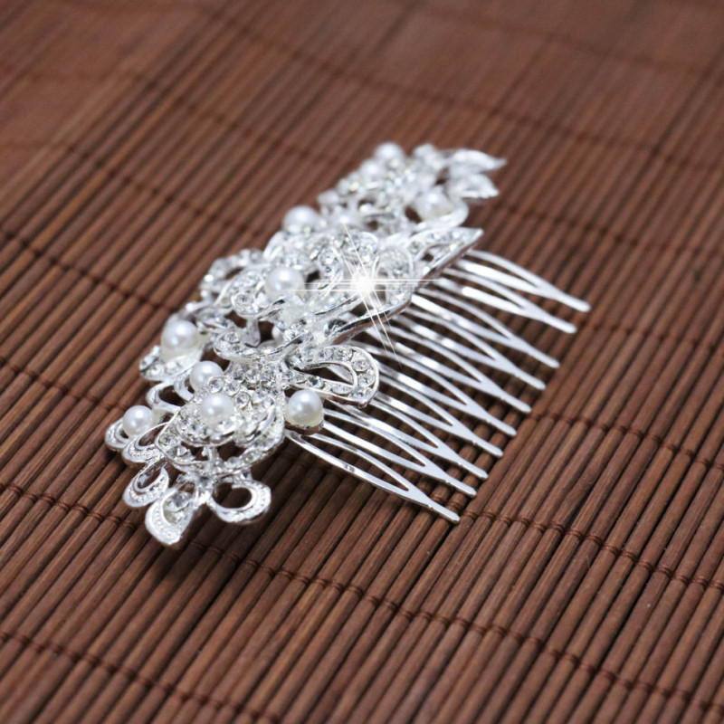 Trendy Hairwear Women Accessories Wedding Bridal Crystal Rhinestone Flower Faux Pearls Hairpins Hair Comb Jewelry 105x58mm(China (Mainland))