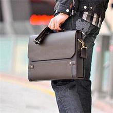 2014 New Fashion Brand Business Leather Men's Faux Leather Shoulder Briefcase Bag Brown(China (Mainland))