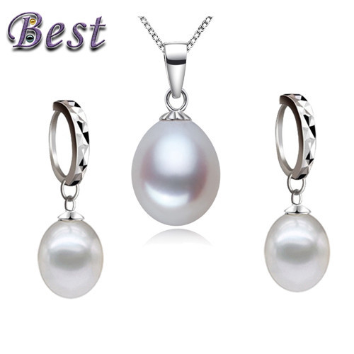 real natural freshwater pearl jewelry set pendant and earring sets for woman 925 sterling silver genuine cultured pearl set(China (Mainland))