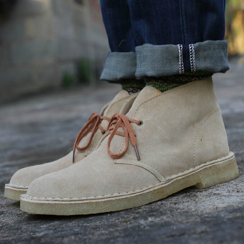 Mens Chukka Boots Desert Boots New Fashion Trend Low Square Heel Lace Up Suede Wing Tip High-Top Shoes Booties<br><br>Aliexpress
