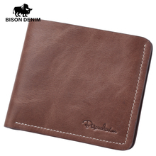 BISON DENIM Thin wallet men short wallets business casual first layer leather wallet business wallet high quality purse card(China (Mainland))
