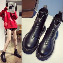 2019 Mới Giày Nữ Giày Nữ Mùa Đông Nóng Da Ống Ngắn Giày Bốt Martin Xu Hướng Thời Trang Thoải Mái Mềm Mại Tự Nhiên Ấm Nữ giày(China)
