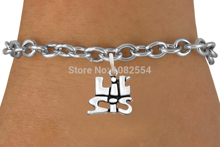 Wholesale Lil Sis Little Sister Word Charm Chain Bracelets Zinc Alloy Jewelry(China (Mainland))