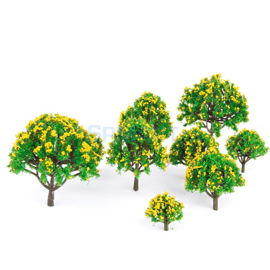 New Arrivals 2015 10 pcs HO Scale Models 5 Sizes Model Tree with Yellow Flower for Railroad Scenery/Diorama Free Shipping(China (Mainland))