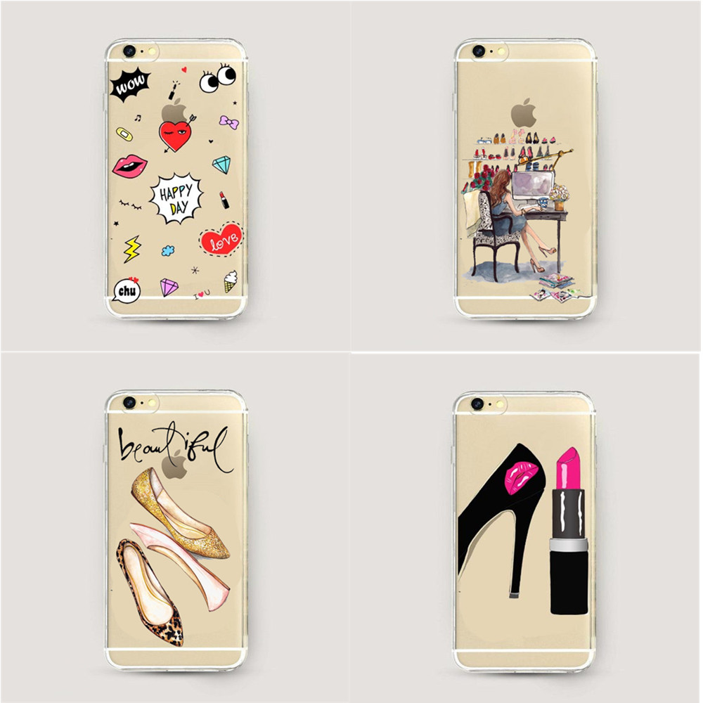 Gorgeous High Heel Shoes Silicon Phone Cases Cover For iphone 6 6s 5 5s se 7 7Plus Graffiti Sexy Lips Clear Cell Phone Case(China (Mainland))