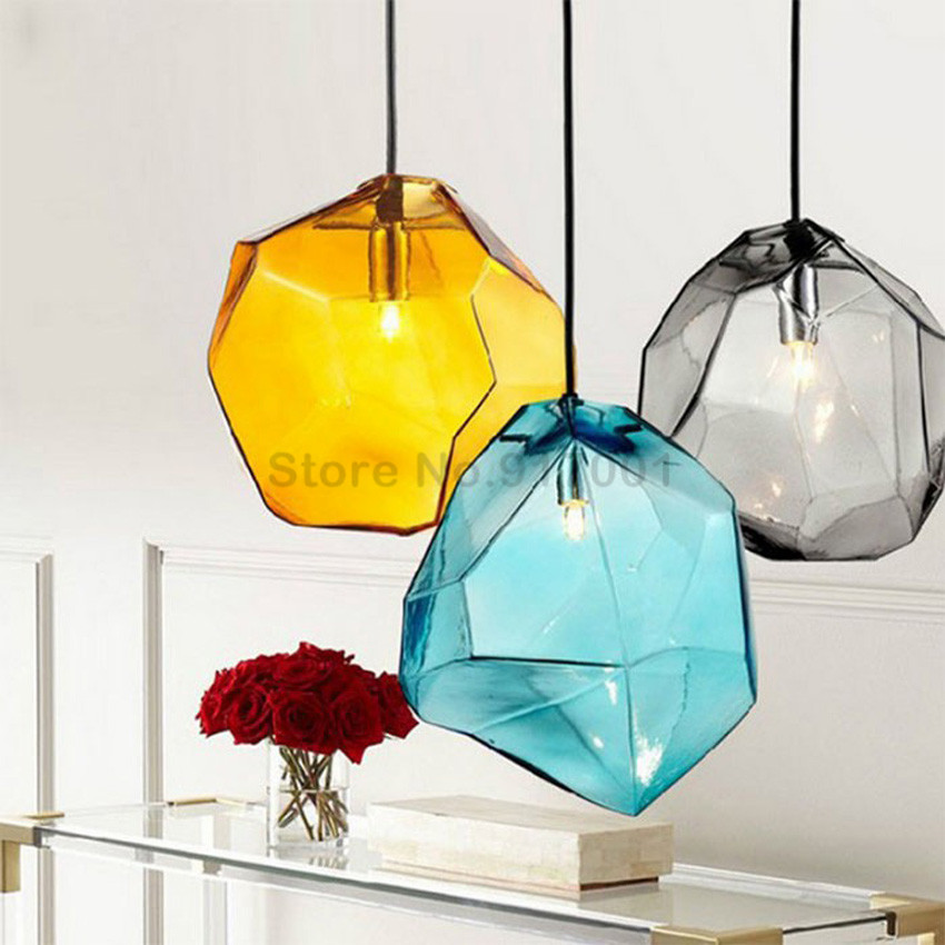 Colorful Crystal Glass Stone Pendant LightS 1/3 Heads G9 Base Indoor Lighting Hanging Lamp for Restaurant Dining room Bar Deco(China (Mainland))