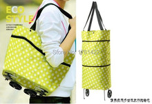 High quality Green Convenient Dual Wheel Reusable Shopping Bags Oxford Cloth Rolling Folding extend Travel Bag Large Capacity(China (Mainland))