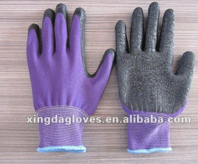 Free Shipping!wholesale12 pairs/dozen 13 gauge  latex coated crinkle  working gloves/safety protective gloves/