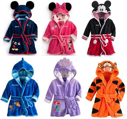 100% Cotton Baby Cloth Cartoon Characters Sleepwear & Robe Bathrobes Children Robe(China (Mainland))