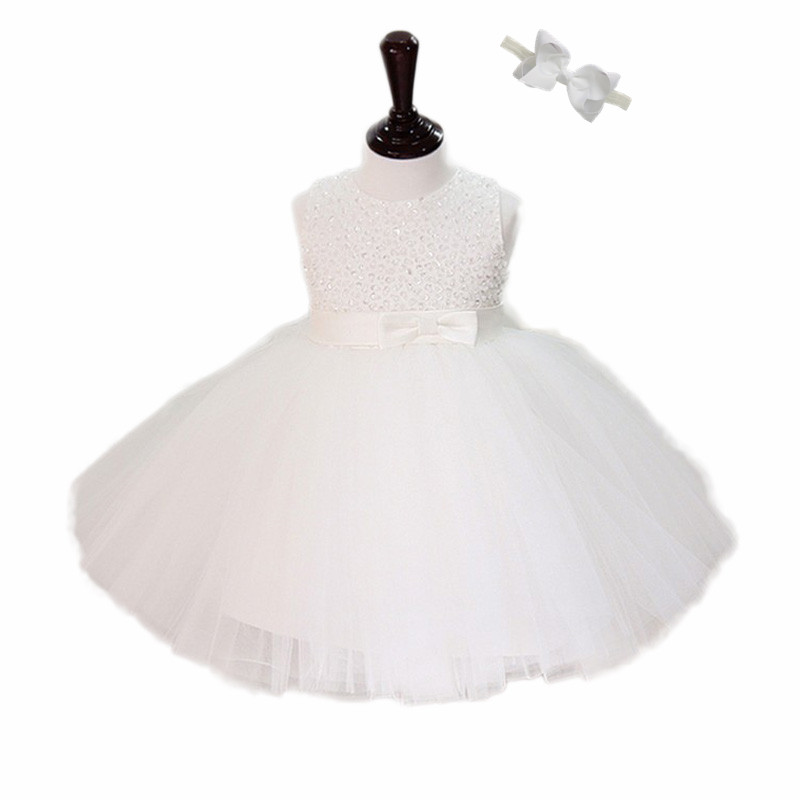Sweet White/Ivory Christening gowns,Pearls & Sequin flully dress 1 year birthday Baby,Flower girls outfit wedding 1241