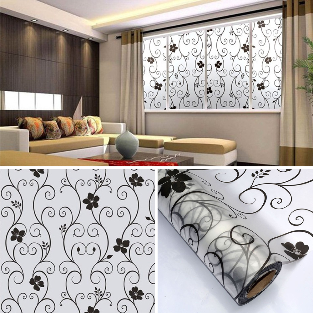 45x100cm Frosted Cover Glass Window Door Black Flower Wall Stickers Film Office Home Decor Art Wall Decals Bathroom Decoration(China (Mainland))
