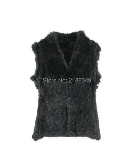 FV023 Модный Стиль Женщины Жилеты Натуральный Мех Трикотажные Кролика Меховой Жилет