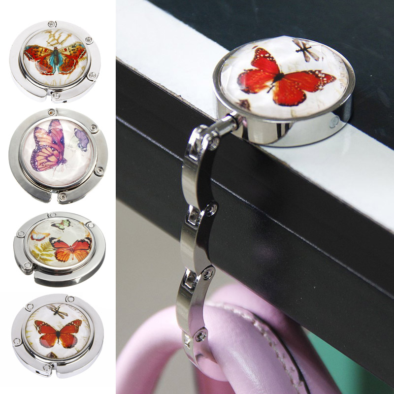 Foldable Metal Butterfly Purse Bag Hanger Handbag Table Hook 4 Colors(China (Mainland))
